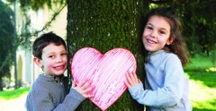 Kids around Tree with Heart