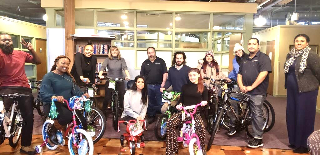 Bikes being donated by Brady Sullivan Properties to the Child & Family Foster Care program Team 12.17.19